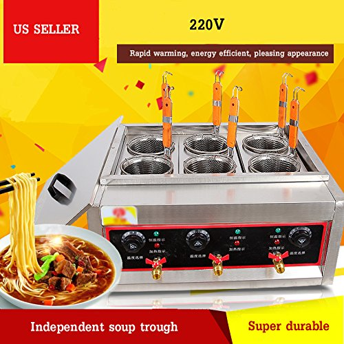 Techtongda Commercial 6 Holes Noodles Cooker Machine Electric Pasta Cooking Machine Pasta Maker -