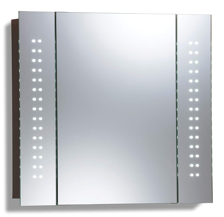 Ananpa 650 x 600 Bathroom Mirror Cabinet, 60 LED Light Illuminated Bathroom Cabinet Mirror With Shaver Socket Demister Galactic