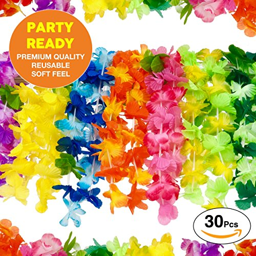 The Original Premium Hawaiian Leis and Luau Party Supplies: Superior Quality Soft Feel Juicy Colorful Flower Lei - Free Party Guide For Luau Leis - Set of 30 Luau Party Lei Necklaces (Buy Leis In Bulk)
