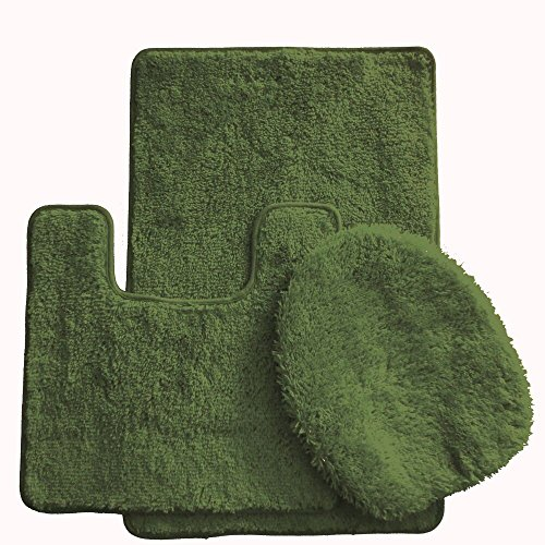 Daniel's Bath Daniel's Bath & Beyond 3 Piece Solid Luxury Bath Mat, Olive Green, ()