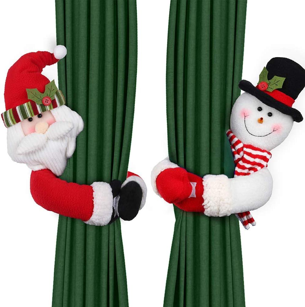 D-FantiX Christmas Curtain Buckle Tieback Set of 2  Santa Snowman Curtain Tiebacks Holdback Fastener Buckle Clamp Window Decorations Wine Bottle Topper Christmas Ornaments Home Holiday D cor