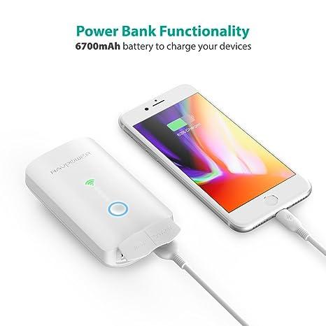 RAVPower Filehub Router Portátil WiFi, Amplificador/Repetidor WiFi, Lector Tarejeta SD, Disco Duro Inalámbrico, Batería Externa, Hotspot, Acceso a Discos ...