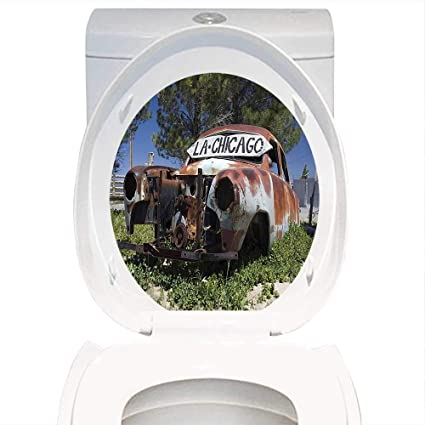Toilet Seat Sticker Old Car Decorations Old Car Trees Greenery in The Famous Route 66 Road