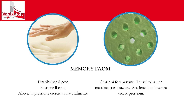 Anti-/étouffement venixsoft Oreiller pour Le lit Ergonomique /à m/émoire de Forme avec lAloe Vera Anti-inflammatoires Transpiration maximale avec Housse en Aloe-fabriqu/é en Italie