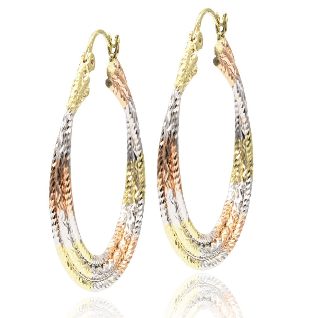 Juvel Jewelry Fine Gold Plated 3 Rings Multi Color Special Earrings Hoop for Birthday Gift