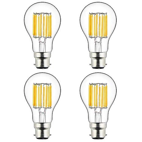 LuxVista 4-packs 10W A60 B22 220V LED Edison Bombilla de Luz Cálida 2700K Con