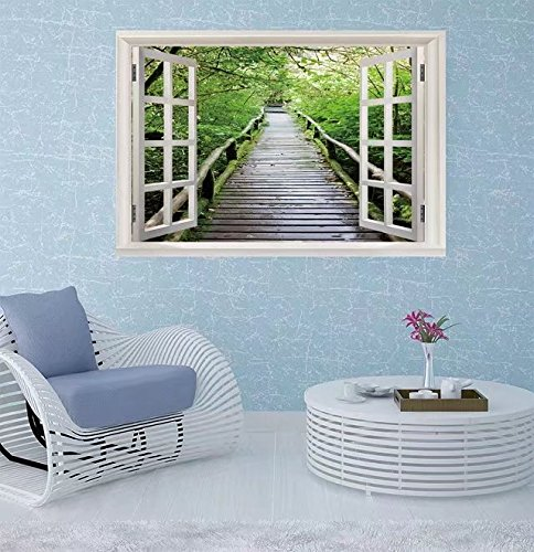 FBAhome Wall Sticker- Wood path after raining through tro Window Frame Style Wall Sticker Home Decor (24