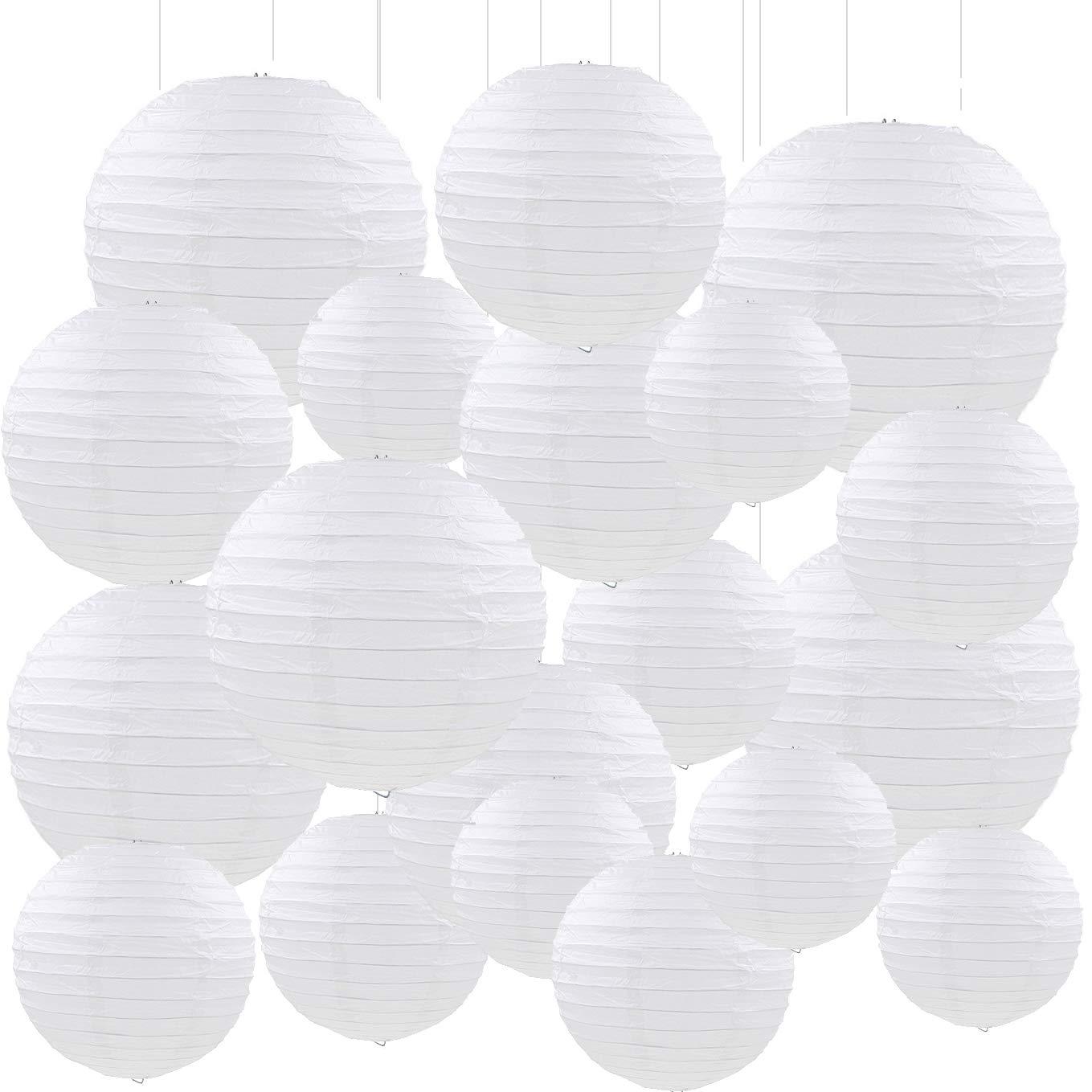 Maison NoëlFête Sonnis 20 PCS 5 Taille Blanc Papier Lanternes Ronde Lampes en Papier Anniversaire De Mariage Partie Décorations Artisanat,Papier Suspensions Ronde Blanc Décoration Mariage