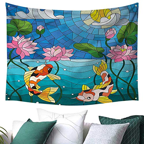 Koi Fish Wall Hanging Tapestry Stained Glass Lotus Flower 72W x 54L Inch,Home Decorations for Living Room Bedroom