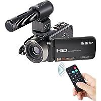 Videocámaras, Besteker Videocámara ligera portátil 16X Zoom digital Cámara de vídeo FHD 1080P 24.0MP Pantalla giratoria de 3.0 pulgadas TFT LCD con micrófono externo y control remoto (b)