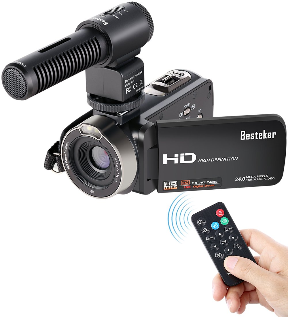 Camcorder, Besteker FHD 1080p Camcorders with External Microphone and Remote Control  Digital Camera Camcorder
