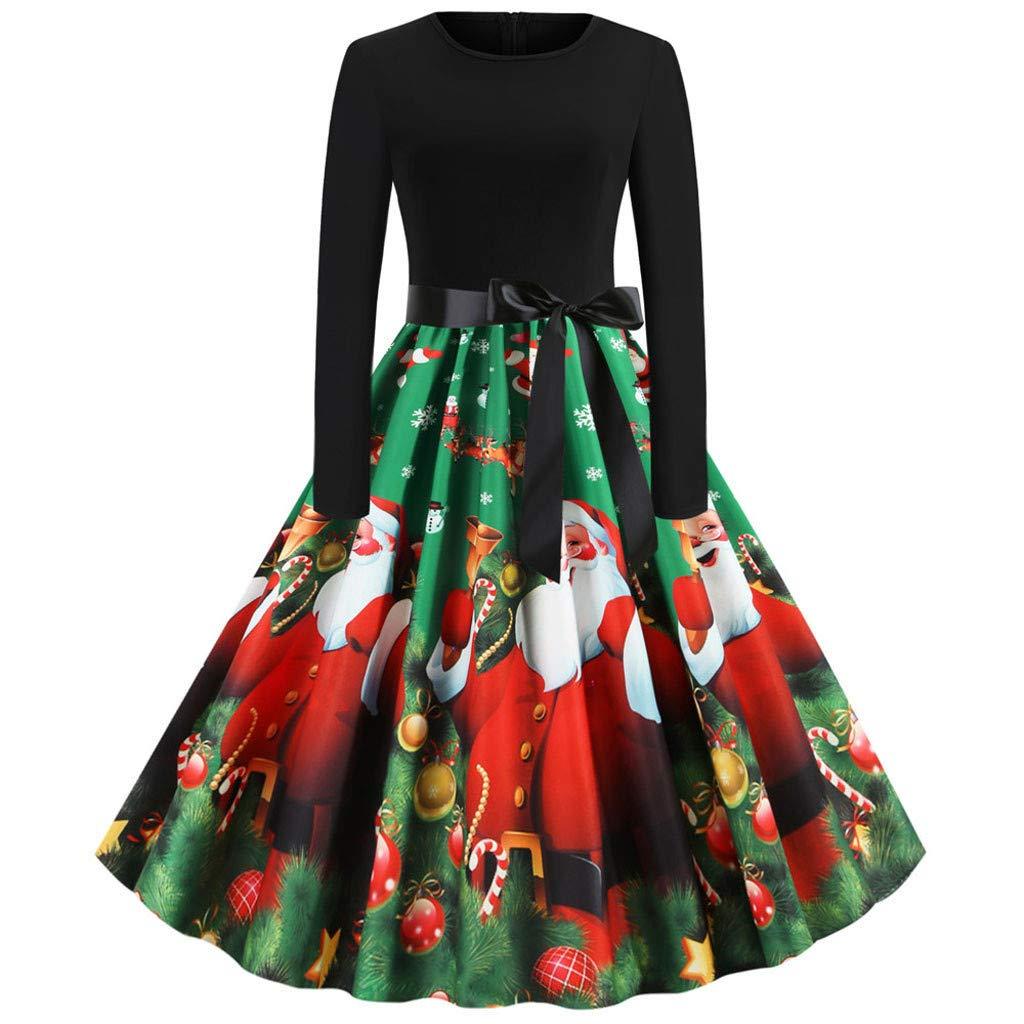 Jingobel Weihnachtskleid Damen Kleider 50er Jahre Vintage Langarm Festlich Kleid A-Linie Swing Weihnachts Kleidung Cocktailkleid Rockabilly Cosplay Karneval Party Kost/üm