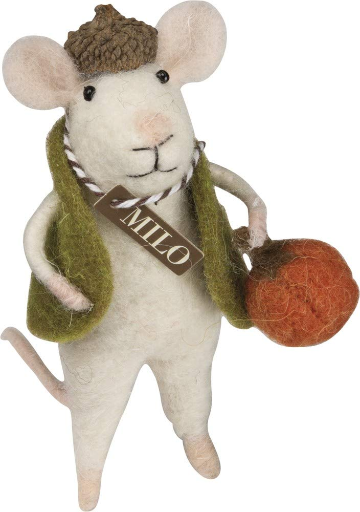 Primitives by Kathy PBK Fall Decor - Felt Mouse Milo with Pumpkin