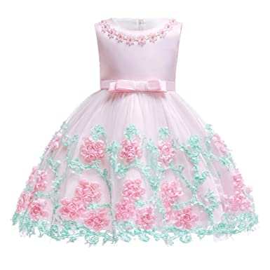 80f5205a0931 3T 4T Girl Dresses 3 4 Year Old Pink Knee Length Party Flower Dresses for  Kids