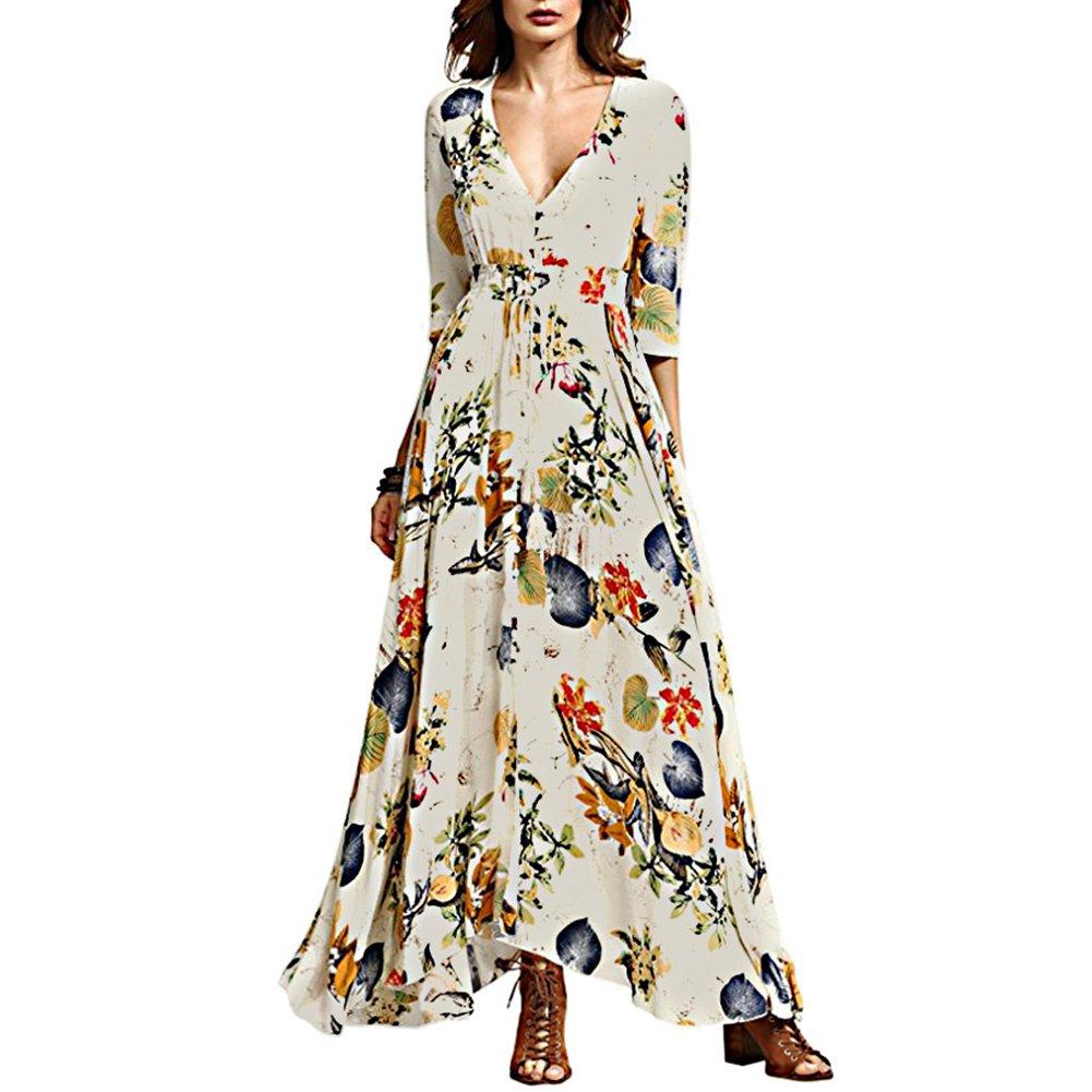 0dd30820c45 Chérie Fille Women s V-Neck Button up Split Dress One-Half Sleeves Dresses  Bohemian Floral Print Flowy Party Maxi Dresses