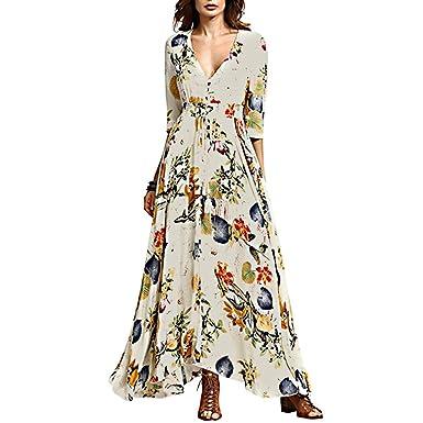 558baef975 Chérie Fille Women s V-Neck Button up Split Dress One-Half Sleeves Dresses  Bohemian Floral Print Flowy Party Maxi Dresses