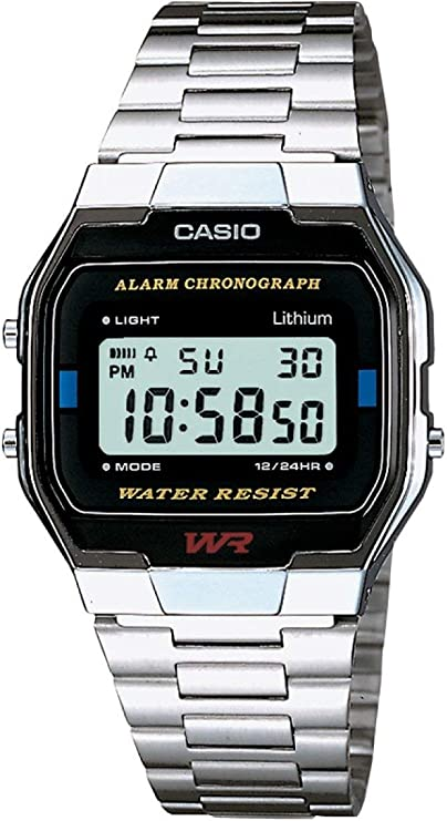 Casio Collection A163WA-1QES, Reloj Rectangular, Acero Inoxidable, Unisex, Plateado