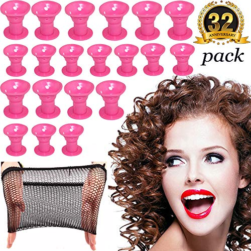 Hair Curlers Rollers Silicon Hair Style Rollers Soft Magic DIY Hair Style Tools with Nat Cap set (Night Rollers)