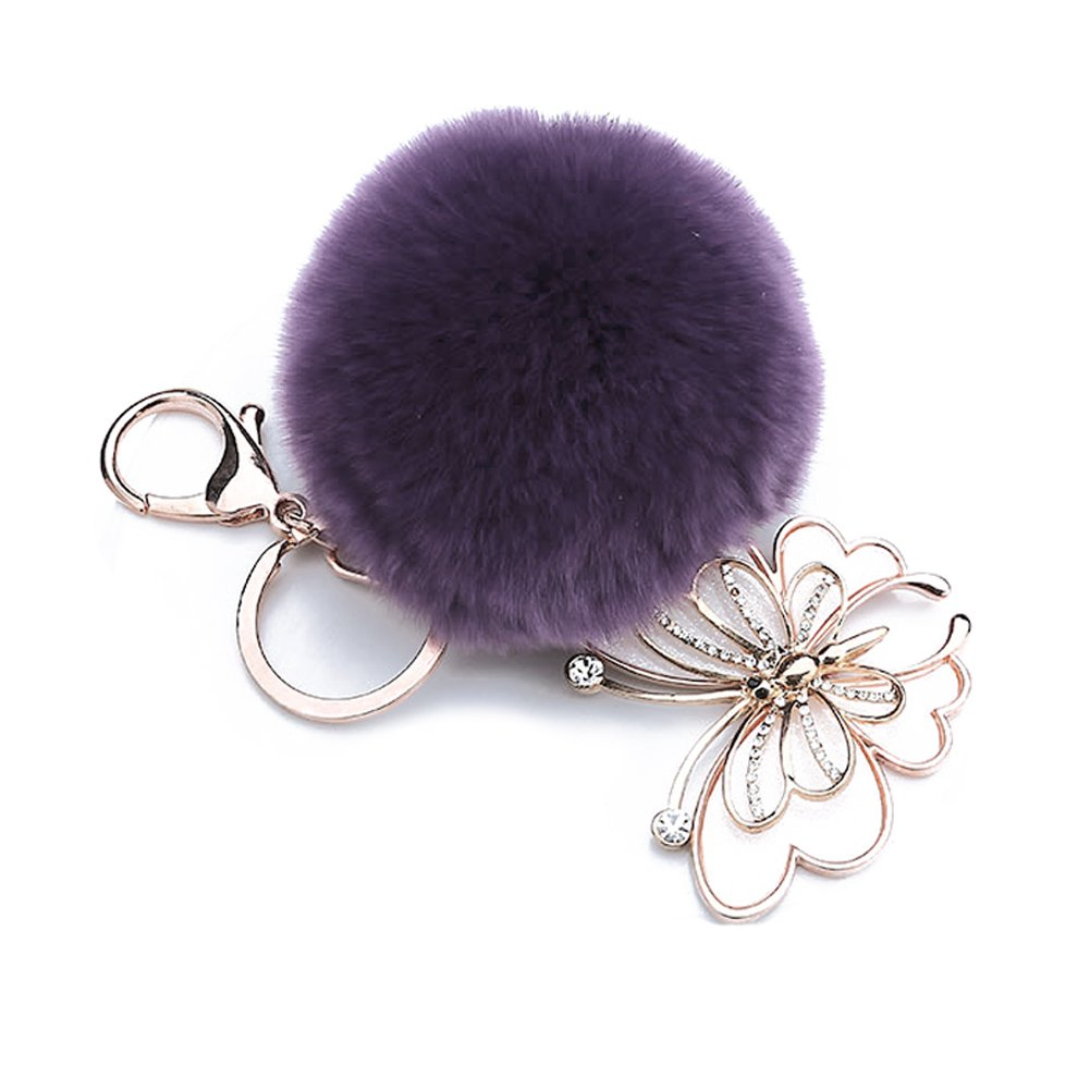 ACTLATI Elegant Butterfly Keyfob Faux Crystal Keyring Pompom Fluffy Ball Handbag Keychain Decor by ACTLATI (Image #5)