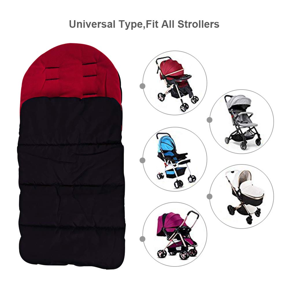 Kidsidol Baby Sleeping Bag Universal Bunting Bag Stroller Footmuff Cover 3-in-1 Baby Stroller Blanket Waterproof Windproof Stroller Annex Mat Keep Warm and Detachable Grey