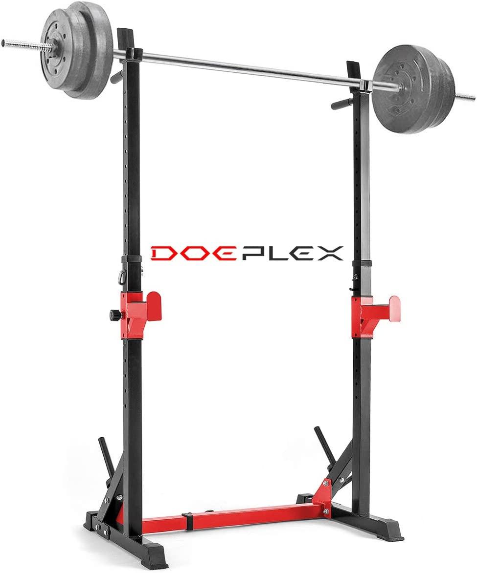 Doeplex 2019 Upgrade Multi-Function Adjustable Squat Rack Exercise Stand – 550-Pound Capacity