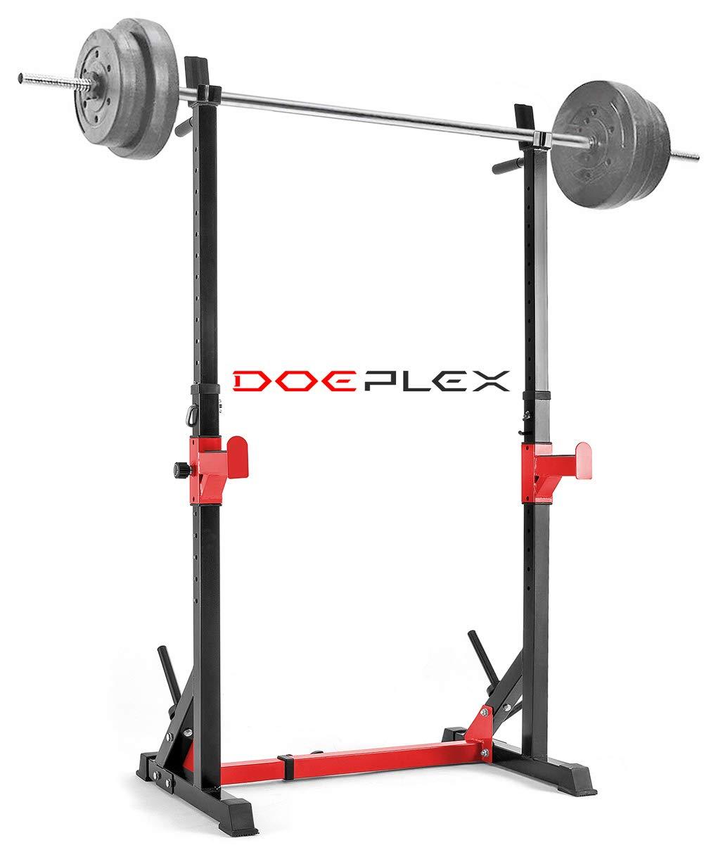 Doeplex Multi-Function Adjustable Squat Rack Exercise Stand - 550-Pound Capacity (Black/Red)
