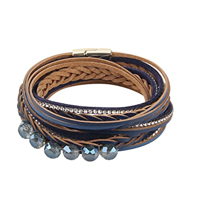 8268dd17cd281 Prettyia Vintage Women's Leather Wrap Bracelet With Crystal Leather ...