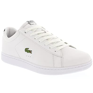 27ed362aa927 Lacoste Mens Carnaby EVO Low Top Lace Up Leather Casual Holiday Trainers -  Dark Blue