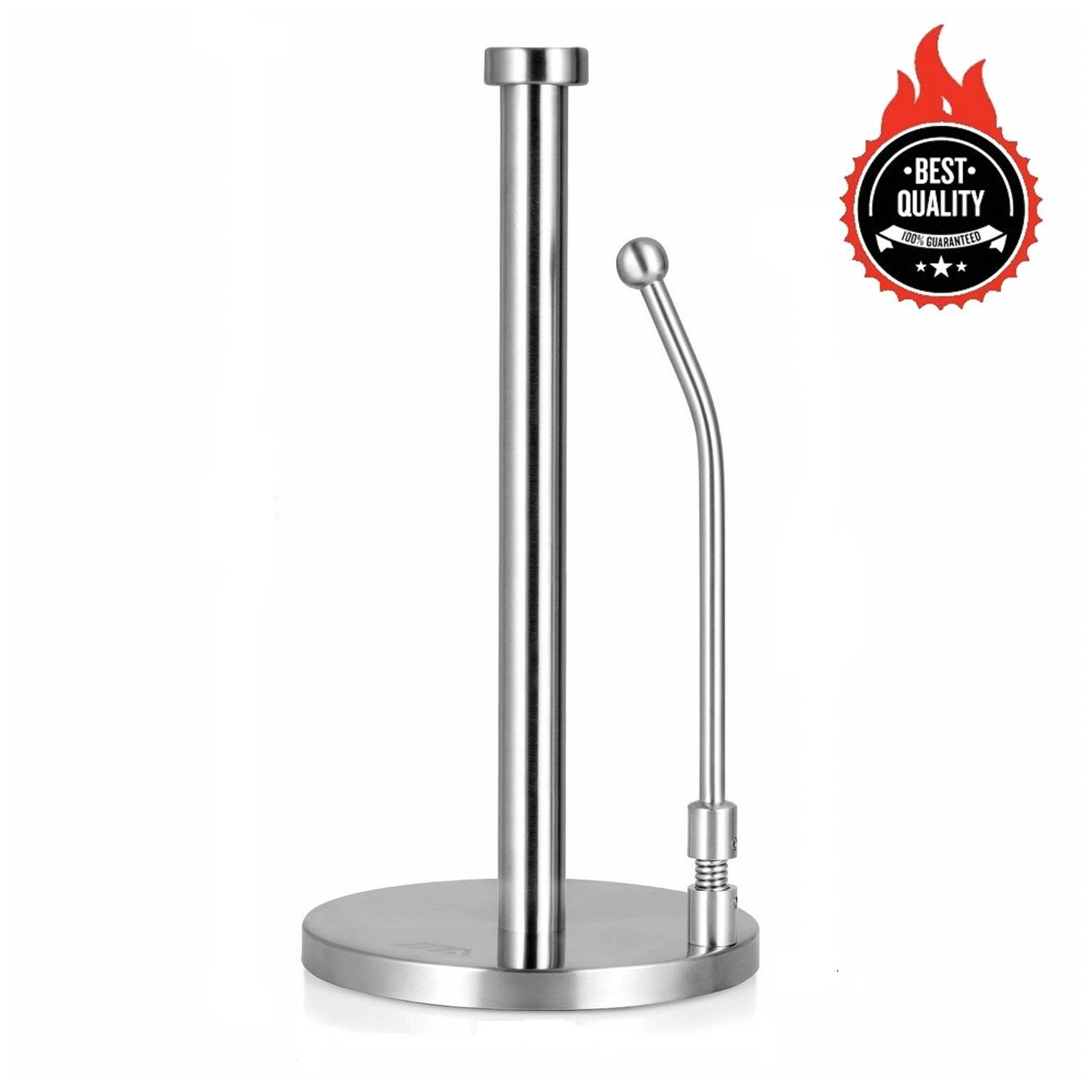 Awekris Paper Towel Holder Tension Arm Standing Paper Towel Holder Simply Tear Roll Contemporary Paper Towel Holder/Tissue Holder Countertop with Weighted Base for Tissue and Garbage Bags in Roll