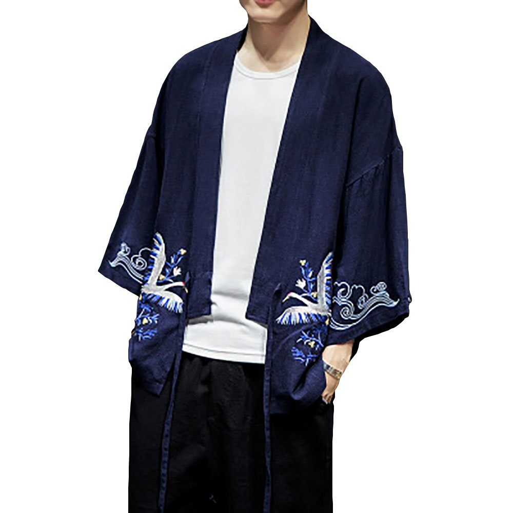 Hao Run Men Japanese Embroidery Kimono Cardigan Yukat Coat Loose Cardigan Jacket Top