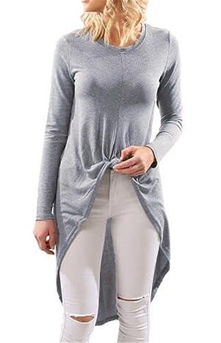 Tayaho T-shirt Mujeres Camiseta Cuello Redondo De Manga Larga Blusa Color SÓLido Casual Tops Largo Suelto Camisetas Tops Sencillos Elegantes Camisa Ocasionales