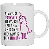 """Shirtstreet24 Mug/tasse à café humoristique avec inscription """"Always be a unicorn"""", blanc, Taille unique"""