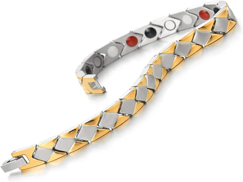 Germanium Argent Or Outil de Suppression de Lien Inclus COOLSTEELANDBEYOND Homme Femme Acier Inoxydable Aimant/é Bracelet Aimants