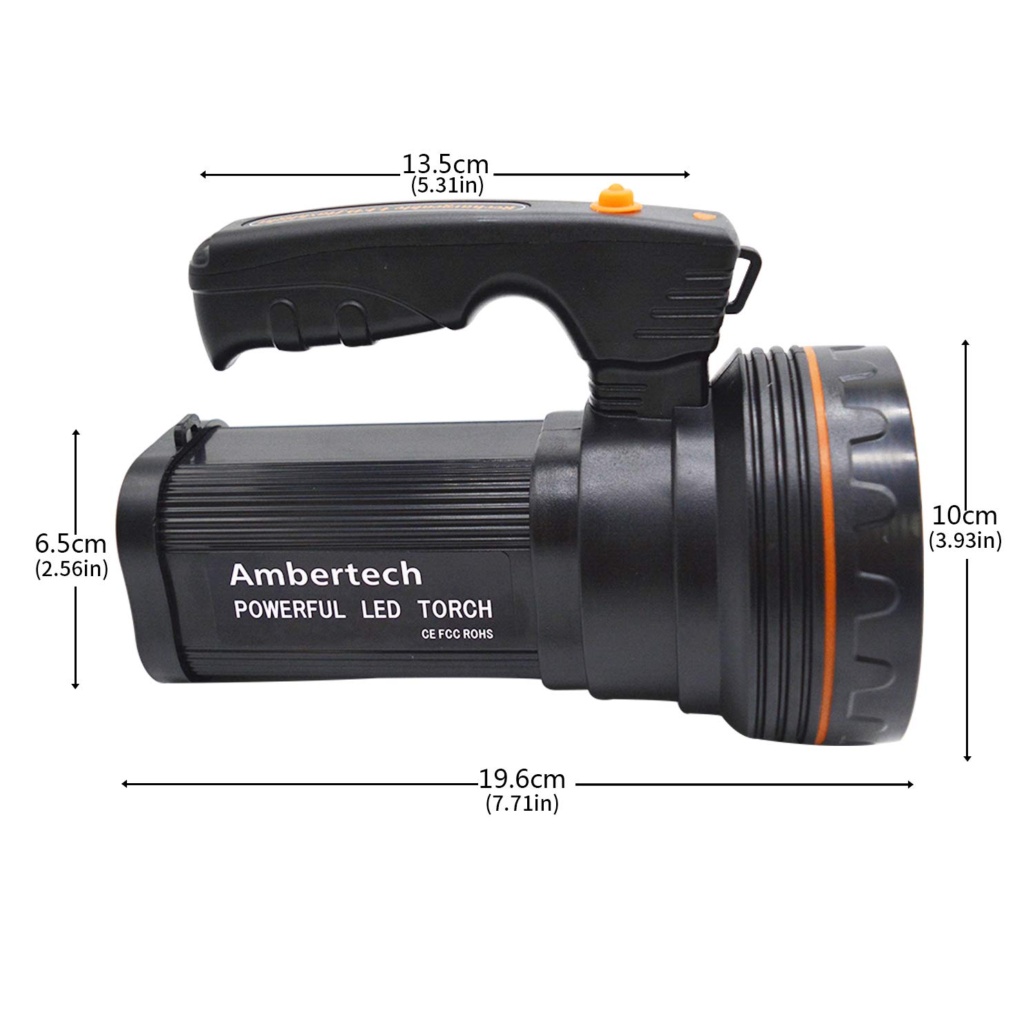 Ambertech Rechargeable 7000 Lumens Super Bright Led Searchlight How To Make A Flashlight Bulb 8211 For 2 15 Volt Batterie Spotlight Torch Lantern With Sharp Light Diy Tools
