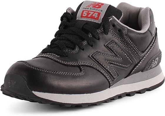 tierra principal Peave perdí mi camino  New Balance - Zapatillas de Cuero para Hombre Negro Negro: Amazon.es:  Zapatos y complementos