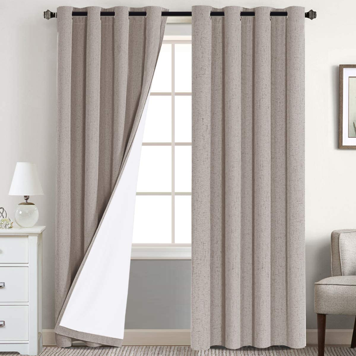 100% Blackout Waterproof Curtains Home Decorations Linen Thermal Insulated Solid Grommet Top Blackout Living Room Curtains/Drapes for Bedroom/Patio (2 Panels 52 x 108 Inches, Taupe)