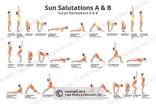 Amazon Com Yoga Poster Sun Salutations A B Yoga Posture Poster Best Work Out Essentials Motivational Decor Yoga Chart Beginner Plan Basics Yoga Stuff Posters Prints