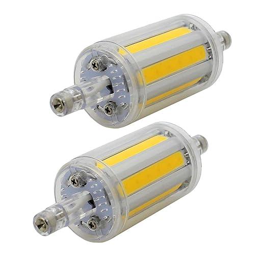 2 unidades, R7s 78mm COB LED Bombillas - Blanca Cálida 3000K - 8W / 600lm