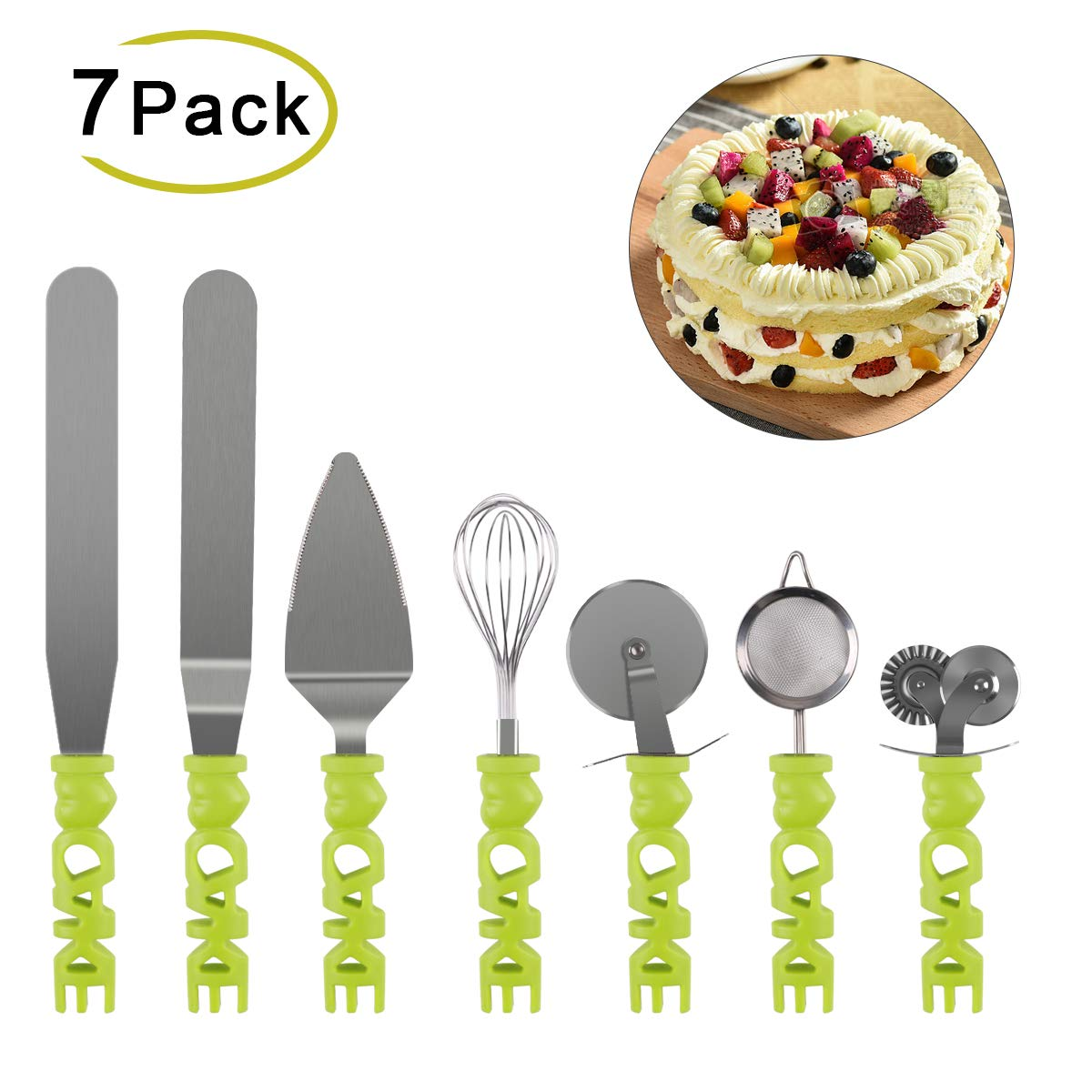 7 Pcs Baking Tool Kit Stainless Steel Cake Tool Kit Baking Utensil Set with Pizza Cutter, Spatula Turners, Egg Whisk, Cake Shovel and Flour Sieve