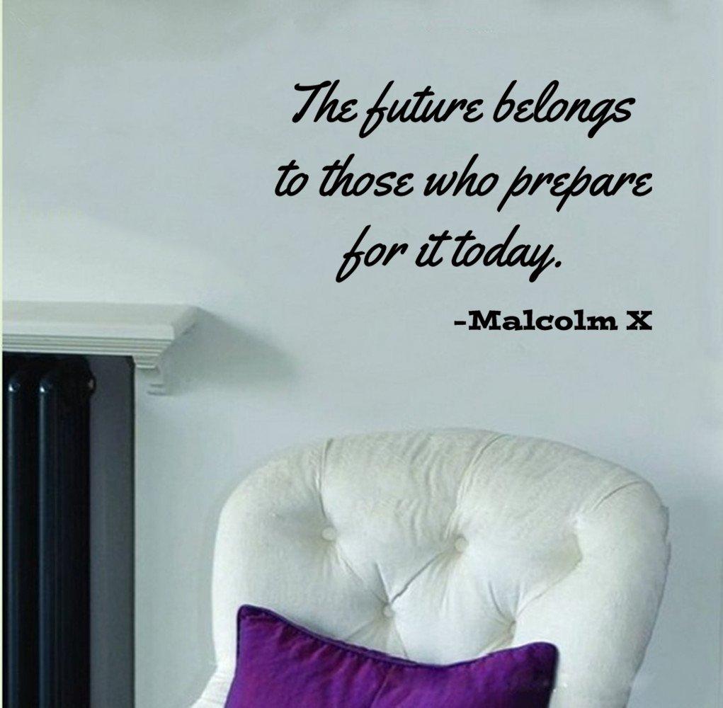 amazon com malcolm x quote the future belongs to wall decal amazon com malcolm x quote the future belongs to wall decal black 24