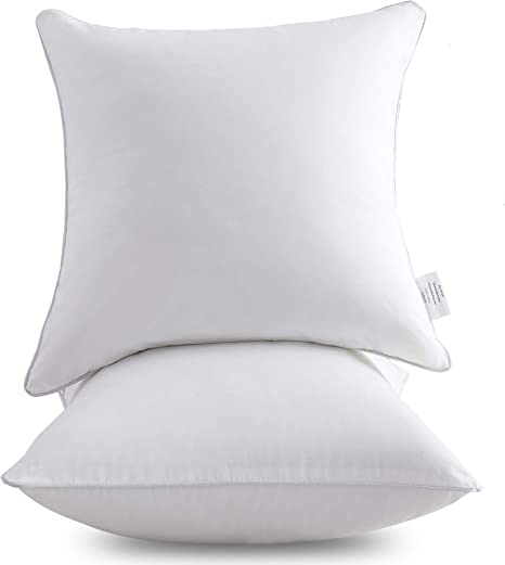 Amazon Com Oubonun 20 X 20 Pillow Inserts Set Of 2 Throw Pillow Inserts With 100 Cotton Cover 20 Inch Square Interior Sofa Pillow Inserts Decorative Pillow Insert Pair White Couch Pillow Kitchen Dining