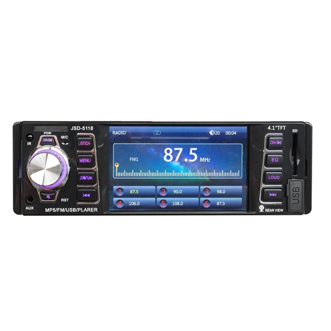 Sannysis 4.1 Bluetooth Auto Audio FM Entrada auxiliar Receptor USB SD MP5 Radio