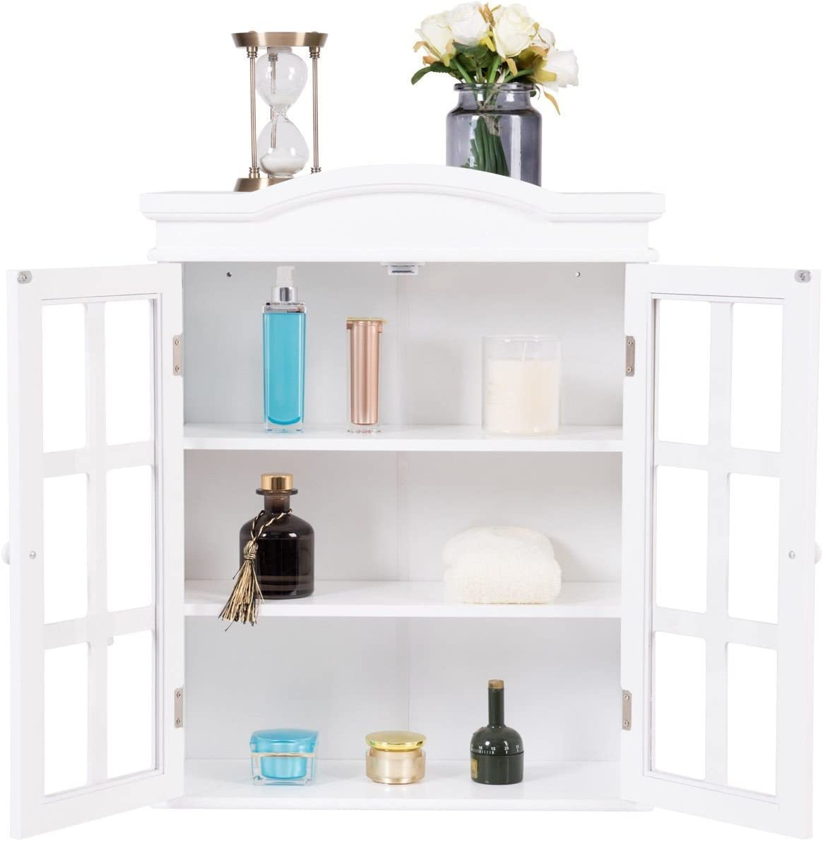 Wall Bathroom Storage Cabinet with Doors, Bathroom Fashions Cabinet Cupboard with White Finish and Elegant Design, Great Home Furniture, by Waterjoy