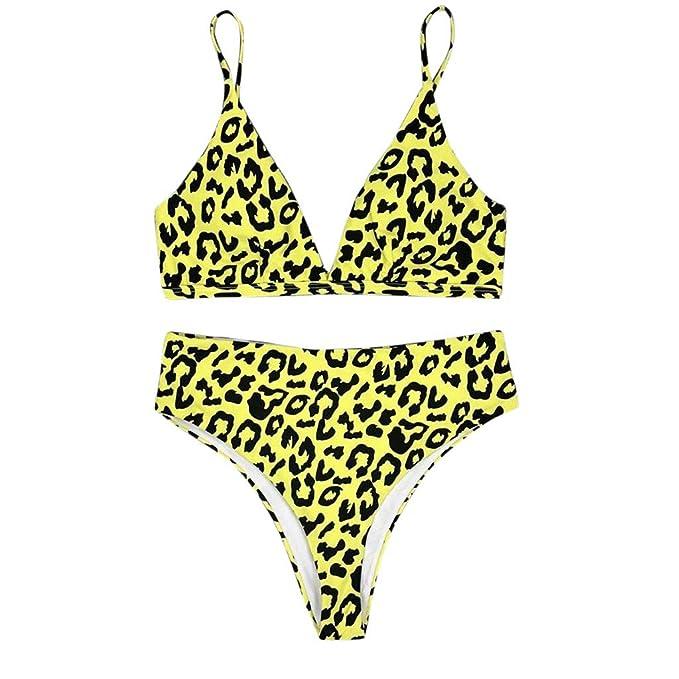 Lonshell Traje de baño Mujer Bikini 2019 Primavera Verano Sexy Estampado Leopardo Cintura Alta con Sujetador