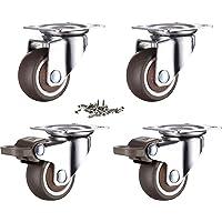 GEOCANG 4 stuks meubelwielen 25 mm met schroeven remmen, rubberen transportwielen kleine zwenkwielen voor meubels…