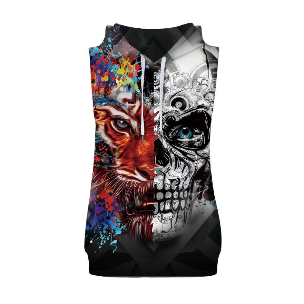 Men Tank Top Casual Men Hoodie Tank Top Casual Splash-Ink 3D Print Vest Blouse Sleeveless T Shirt Zulmaliu (Multicolor A, 2XL)