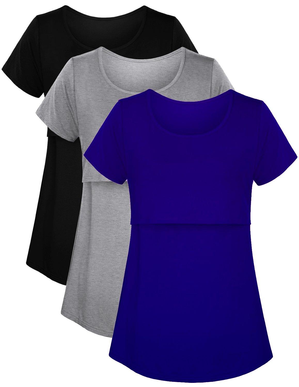 PrettyLife Women's Maternity Nursing Tops Short Sleeve Double Layered Breastfeeding T-Shirts 3-Pack (Black/Grey/Royal Blue, M)