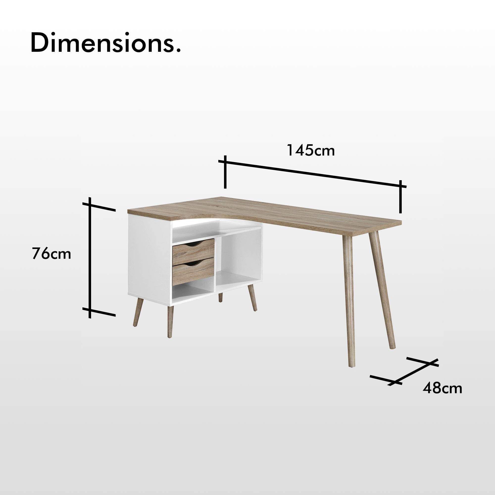 VonHaus L-Shaped Computer Desk Scandinavian Nordic Style - White and Light  Oak Effect with Tapered Legs Corner