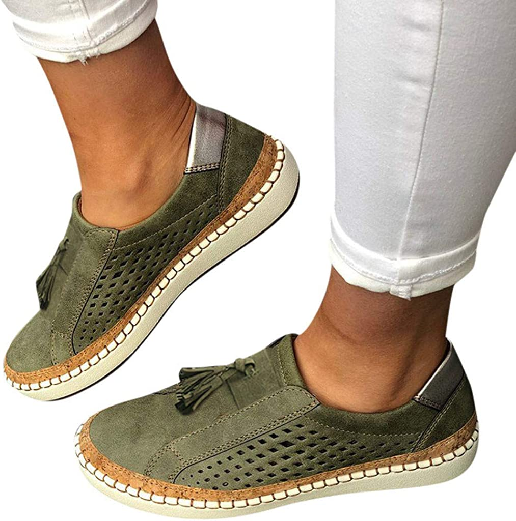 Women Hollow-Out Flats,Frunalte Fashion Casual Round Toe Shoes Flat with Sneakers Breathable Slip On Loafers