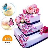 (Set of 100) Sakolla Butterflies Cupcake Toppers Wedding Cake Decorations Engagement Cake Topper Picks DIY Supplies for Wedding Baby Shower Bride Birthday Party